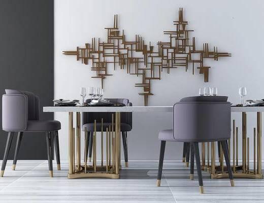 现代, 后现代, 餐桌椅, 桌子, 椅子, 单椅, 休闲椅, 墙饰