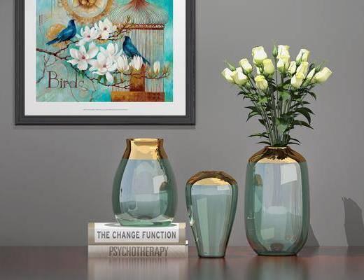 摆件组合, 花瓶花卉, 现代摆件组合, 书籍