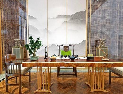 书桌, 桌椅组合, 背景墙, 茶具组合, 单椅