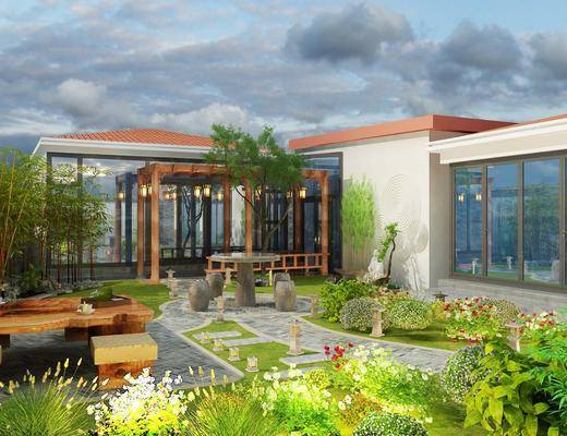 庭院花园, 花园庭院, 绿植植物, 桌子凳子, 门面门头, 茶桌, 竹子, 花卉, 壁灯, 新中式