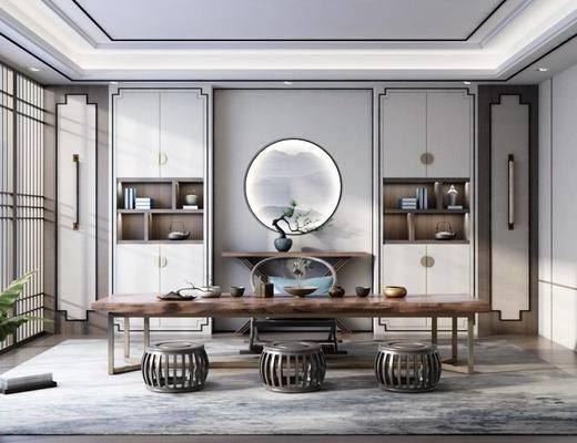 茶室, 桌椅组合, 端景台, 盆栽, 壁灯