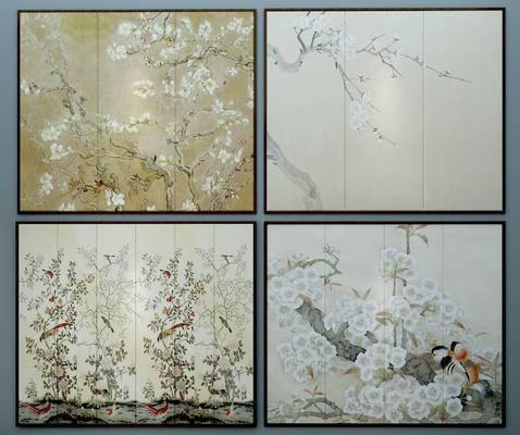 新中式, 软包, 硬包, 墙画, 墙绘