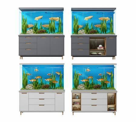 鱼缸模型, 鱼缸水族, 现代