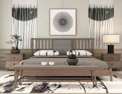 卧室, 床具组合, 台灯组合, 新中式