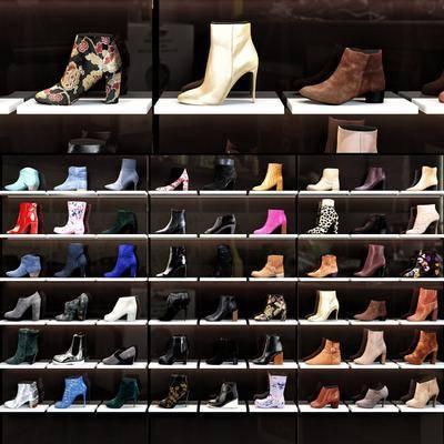 女鞋, 高跟鞋, 皮鞋, 展示架组合, 现代