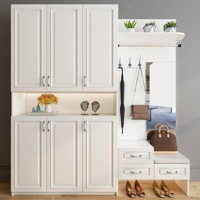 简欧鞋柜组合, 鞋子, 装饰摆件组合, 挎包, 盆栽