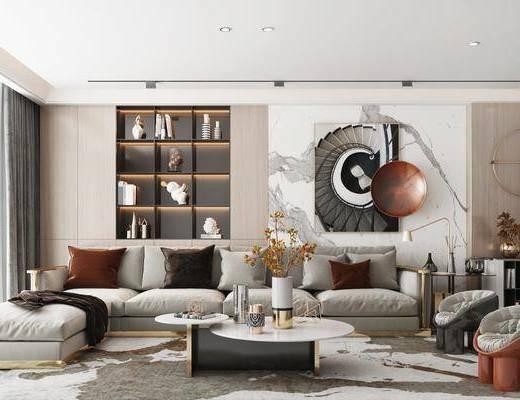 沙发组合, 茶几, 吊灯, 装饰画, 摆件组合, 置物柜