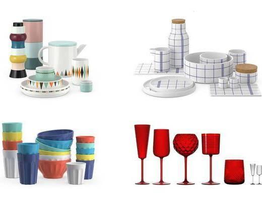 餐具杯子, 酒杯, 碗, 现代