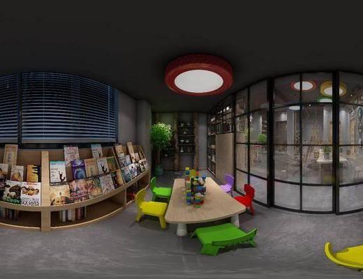 書桌, 單人椅, 裝飾品, 書籍, 吧臺, 吧椅, 裝飾架, 裝飾畫, 掛畫, 工業風
