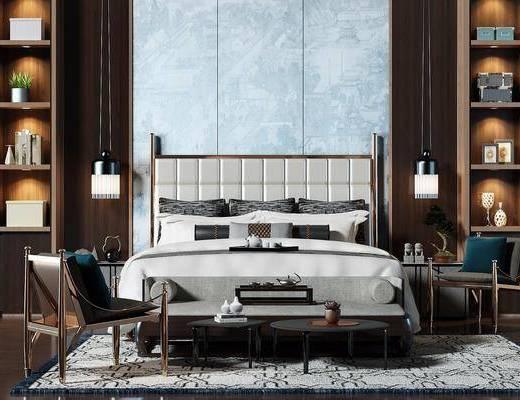现代风格双人床, 现代, 床, 装饰柜, 床头柜, 椅子, 茶几