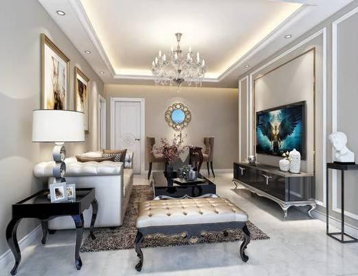 现代, 简欧, 客厅, 沙发组合, 沙发茶几组合, 电视柜, 端景台, 边几, 台灯, 落地灯, 装饰画, 挂画