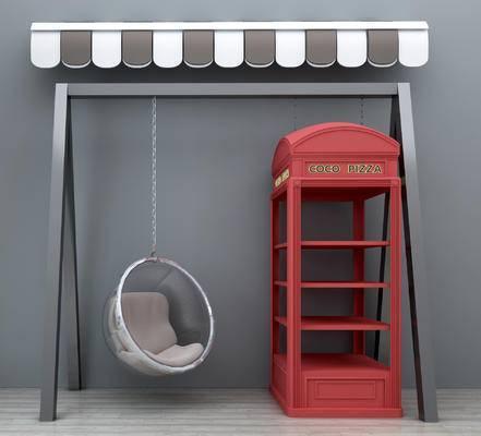 现代, 遮雨棚, 遮阳棚, 电话亭, 吊椅