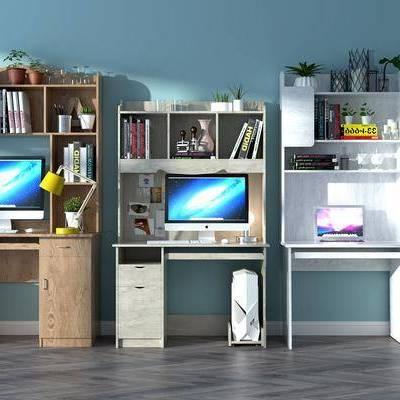 书桌, 书籍, 书架, 书柜, 摆件, 装饰品, 台灯, 现代书桌, 现代