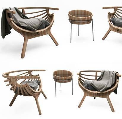 休闲椅子, 单人椅, 边几, 中式