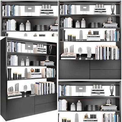 书柜, 装饰柜, 书籍, 摆件, 装饰品, 现代