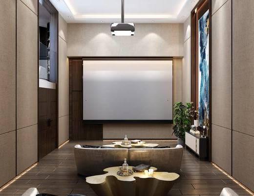 影音室, 沙发茶几组合, 边柜组合, 盆栽, 绿植, 摆件组合, 现代