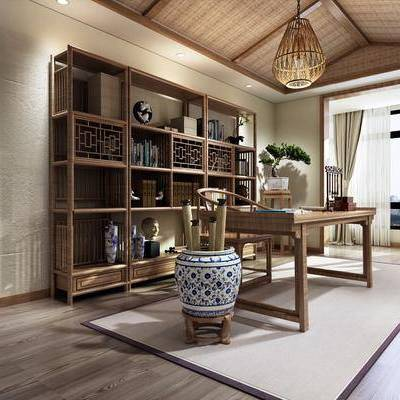 书房, 玄关, 装饰柜, 书桌, 装饰架, 书柜, 单人椅, 吊灯, 落地灯, 边柜, 摆件, 装饰画, 挂画, 新中式