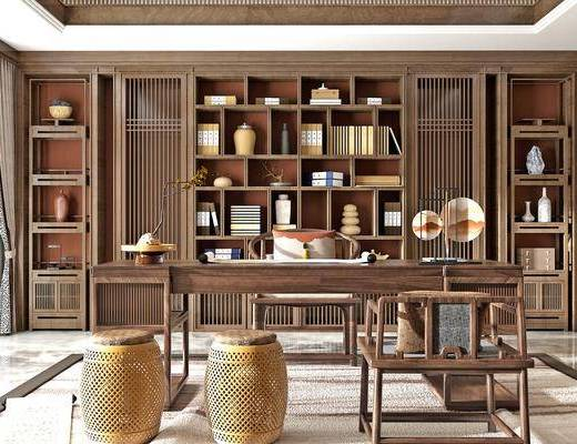 桌椅组合, 茶几, 书柜, 置物柜, 书籍