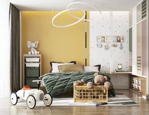 双人床, 吊灯, 衣柜, 置物柜, 玩具, 床头柜