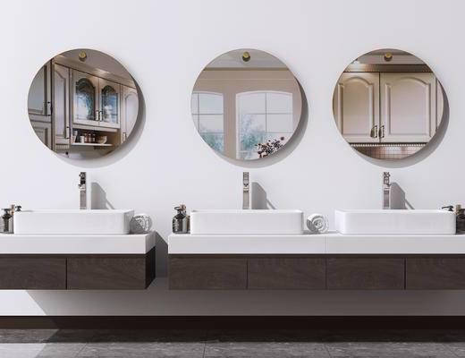 浴室柜, 面盆, 洗手盆, 壁镜