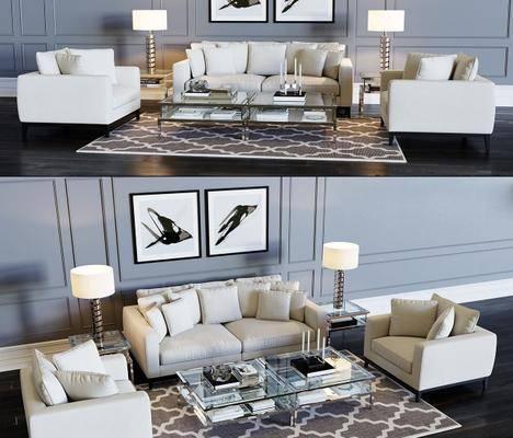 沙发组合, 现代沙发, 双人沙发, 单人沙发, 茶几, 边几, 地毯, 挂画, 书籍, 装饰灯, 摆件, 摆件组合, 现代