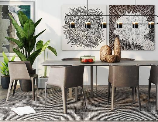 装饰画, 绿植, 桌椅组合, 吊灯