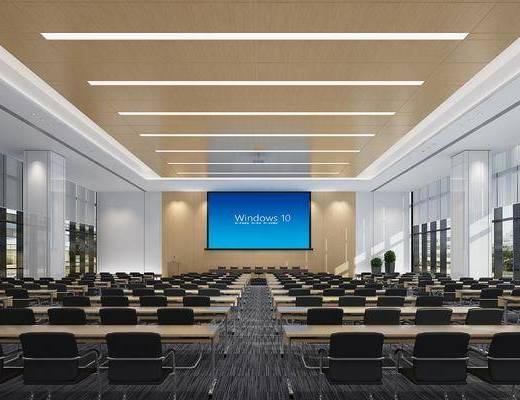 会议厅, 会议室, 办公桌, 办公椅, 单人椅, 盆栽, 绿植植物, 现代
