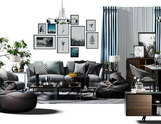 沙发茶几组合, 画, 装饰画, 盆景, 植物, 沙发凳, 窗帘, 电视柜, 餐桌, 桌椅, 沙发组合, 现代, 北欧