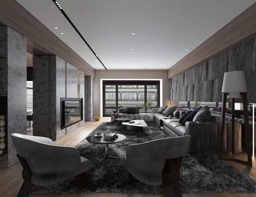 客厅, 多人沙发, 茶几, 转角沙发, 落地灯, 单人沙发, 摆件, 装饰品, 陈设品, 现代