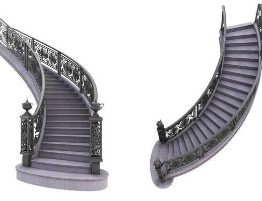 欧式楼梯, 楼梯, 铁艺楼梯