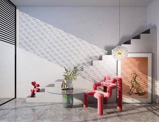 现代异形单椅, 现代休闲椅, 现代边几