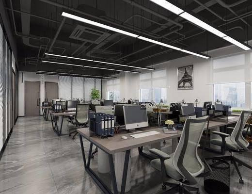 办公区, 办公桌, 办公椅, 单人椅, 电脑桌, 装饰画, 挂画, 台灯, 绿植植物, 工业风