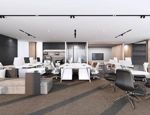 办公区, 桌椅组合, 办公空间