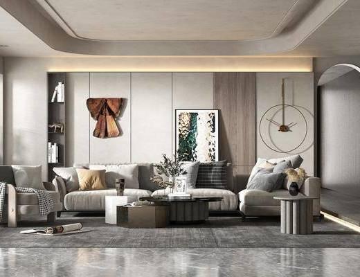 现代简约, 客厅, 多人沙发, 装饰画, 边几