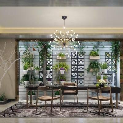 茶室, 茶桌, 单人椅, 装饰架, 绿植, 盆栽, 植物, 吊灯, 装饰柜, 书籍, 摆件, 装饰品, 陈设品, 现代
