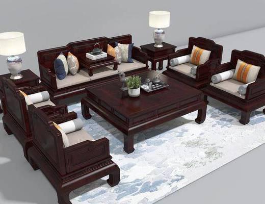 红木沙发, 沙发组合, 多人沙发, 茶几, 单人沙发, 边几, 台灯, 中式