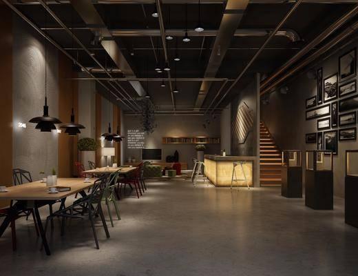 工业风, 咖啡厅, 椅子, 桌子, 吊灯, 吧台, 挂画, 墙饰, 电视柜, 多人沙发
