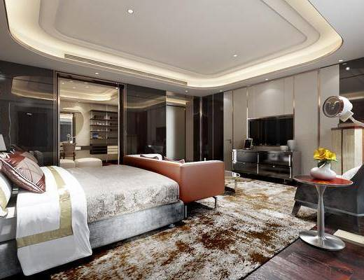 现代酒店套房, 现代, 酒店, 房间, 现代港式, 床, 沙发, 椅子, 落地灯