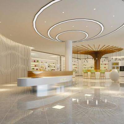 现代化妆品公司, 现代, 前台, 接待, 椅子, 球形椅