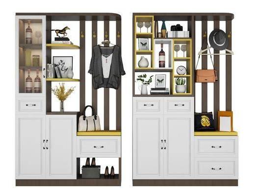 鞋柜组合, 装饰柜, 摆件, 装饰品, 陈设品, 北欧