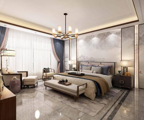 臥室, 床具組合, 臺燈, 吊燈, 掛畫組合, 擺件組合, 新中式