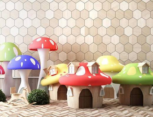 儿童蘑菇房, 木马, 植物