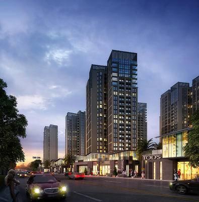 商业街, 大厦, 建筑, 现代