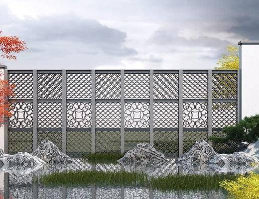 围墙, 景墙, 护栏, 中式