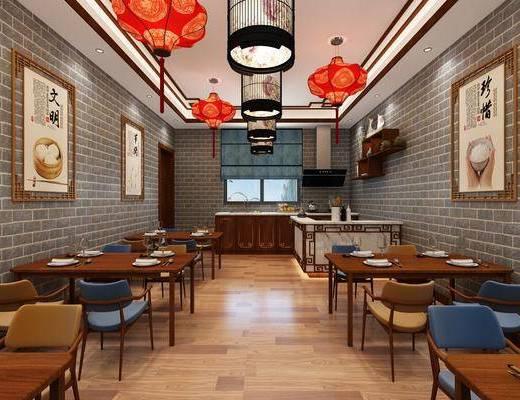 中式, 餐厅, 餐桌椅, 吊灯, 挂画