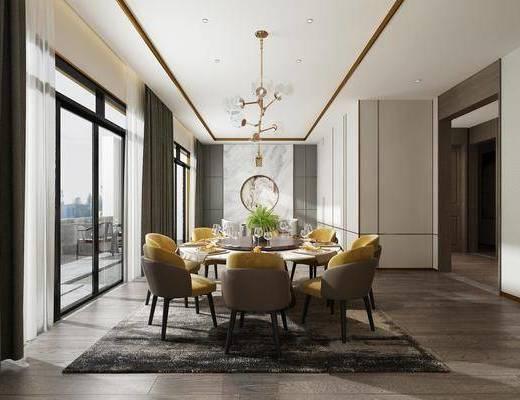 现代餐厅, 圆桌椅组合, 餐具组合, 吊灯