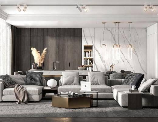 现代, 客厅, 沙发组合
