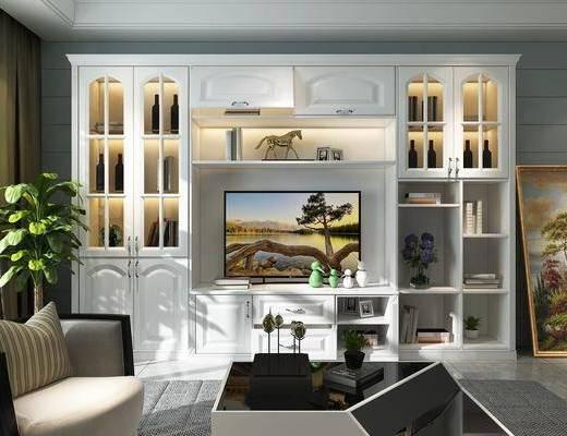 储物柜灯, 椅子, 装饰画, 绿植组合