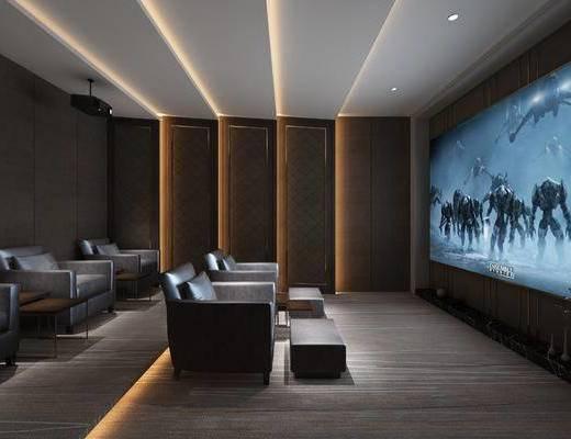 现代, 影音室, 屏幕, 单椅