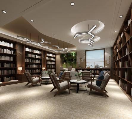书店, 单人沙发, 桌子, 书柜, 书籍, 吊灯, 台灯, 装饰柜, 单人椅, 现代